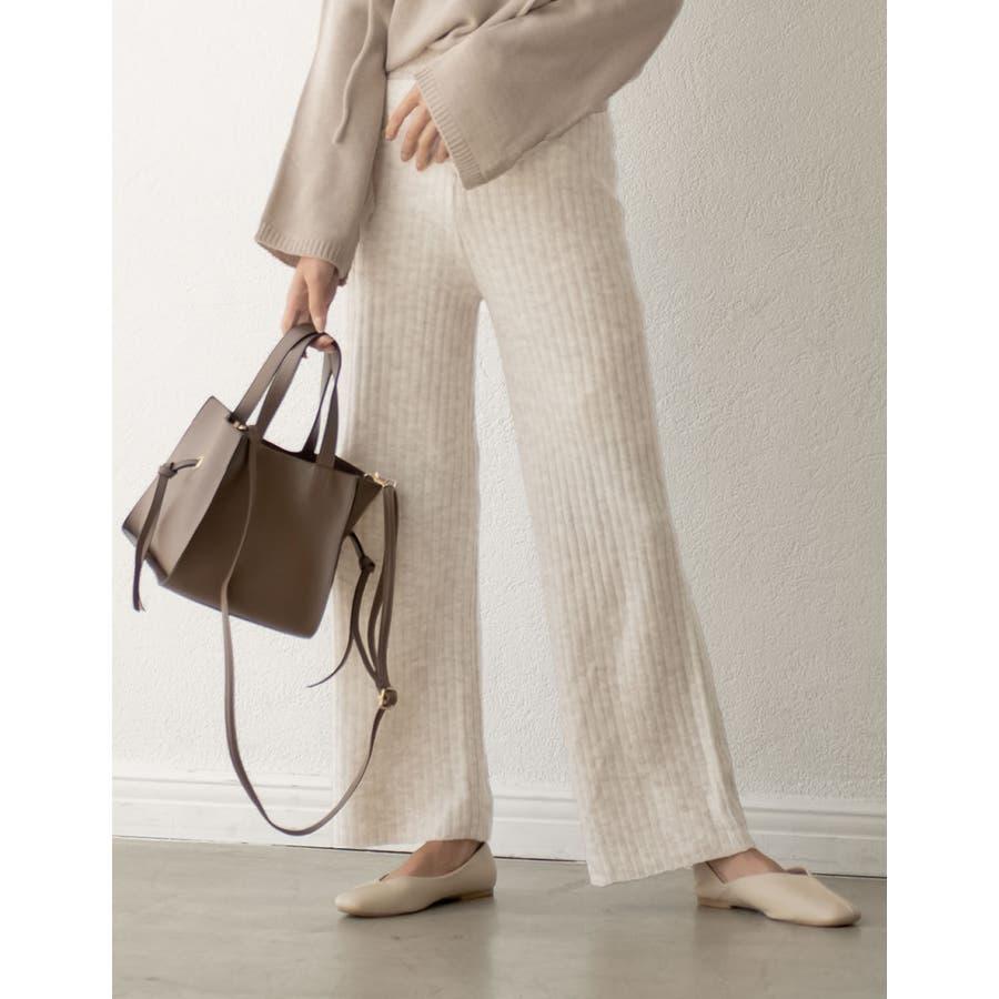 今から春先まで履きたい杢調のニットパンツが登場 リブ編みニットイージーパンツ 18
