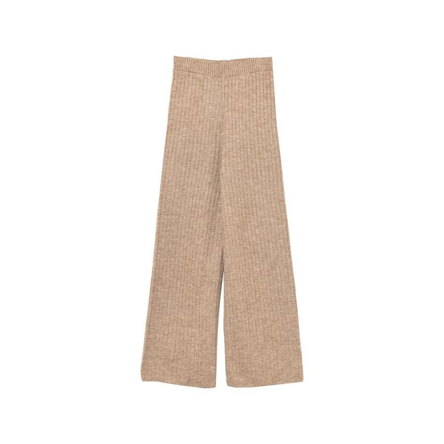 今から春先まで履きたい杢調のニットパンツが登場 リブ編みニットイージーパンツ 29