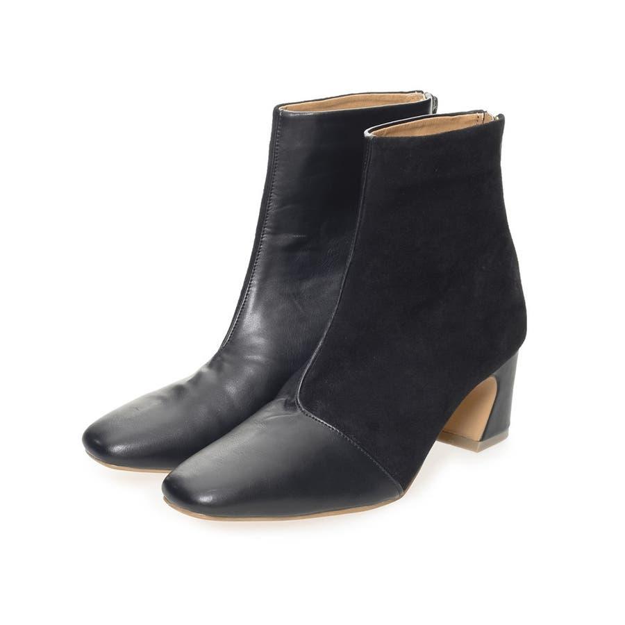 異素材切り替えの配色ショートブーツ スクエアトゥ異素材切り替えショートブーツ シューズ/ブーツ 21