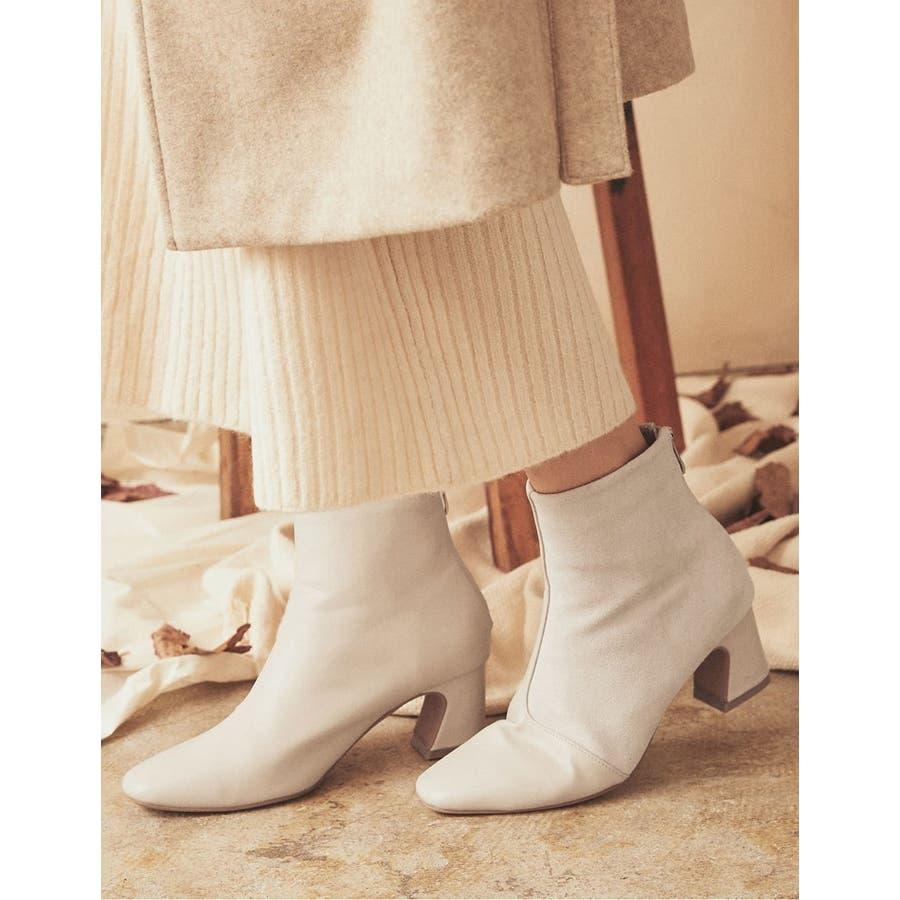 異素材切り替えの配色ショートブーツ スクエアトゥ異素材切り替えショートブーツ シューズ/ブーツ 18