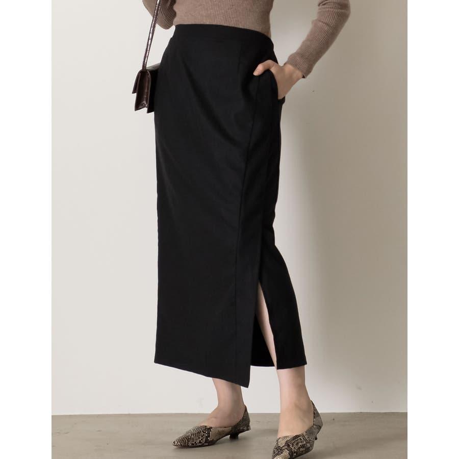 スタイリングを選ばない万能なルックスが魅力 ラップ風ロングタイトスカート スカート/スカート 21