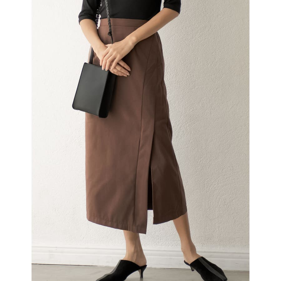 スタイリングを選ばない万能なルックスが魅力 ラップ風ロングタイトスカート スカート/スカート 29