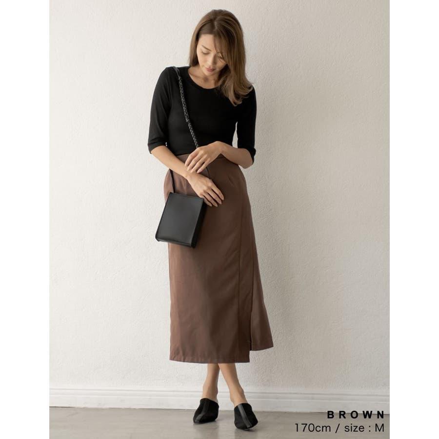 スタイリングを選ばない万能なルックスが魅力 ラップ風ロングタイトスカート スカート/スカート 7