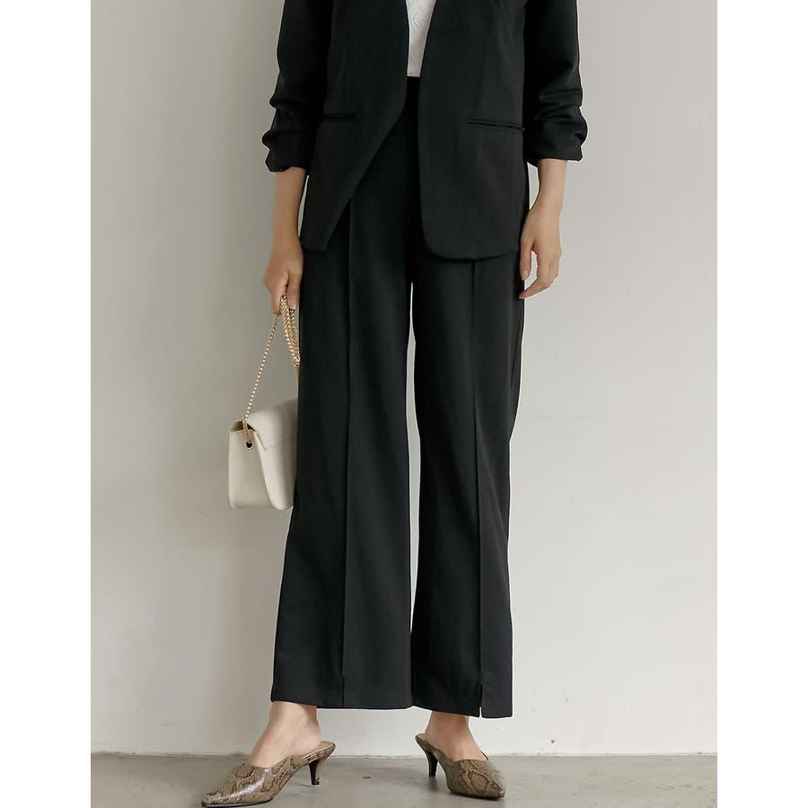 オフィスも普段使いもOKなすっきり美脚見えパンツ カットジョーゼットセンターラインパンツ パンツ/パンツ 21