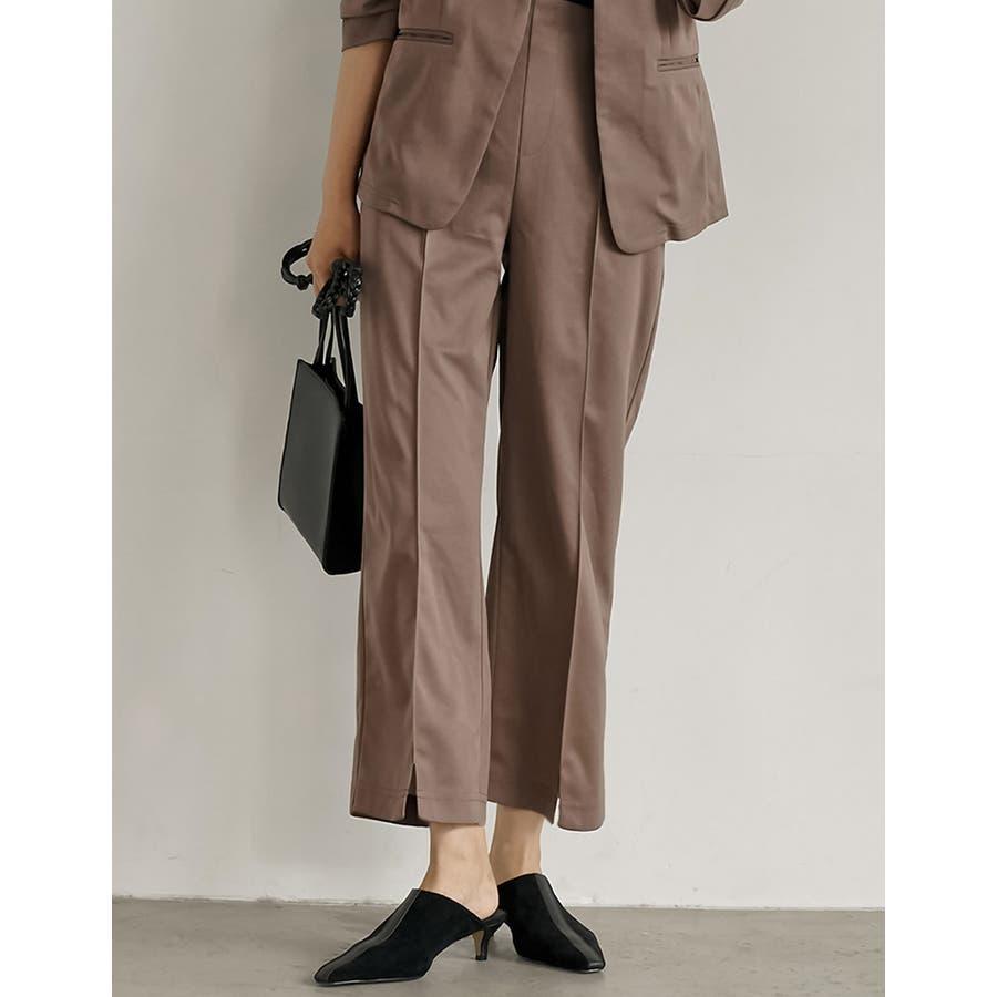 オフィスも普段使いもOKなすっきり美脚見えパンツ カットジョーゼットセンターラインパンツ パンツ/パンツ 35