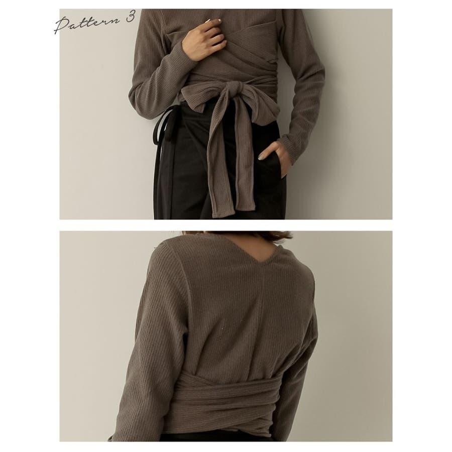 こう着るのは私だけ。アレンジできるニットソー 起毛リブレイヤードカシュクールトップス トップス/Tシャツ/カットソー 6