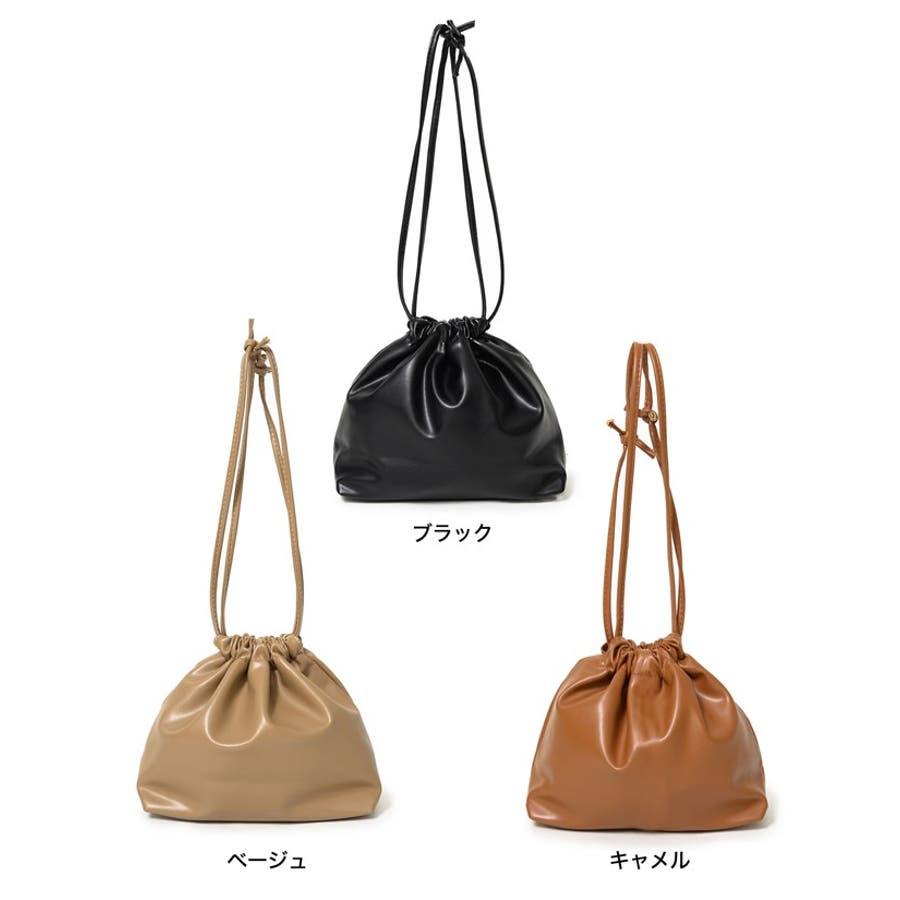 コンパクトサイズでちょっとしたお出かけにぴったり フェイクレザー巾着バッグ バッグ/ショルダーバッグ 2