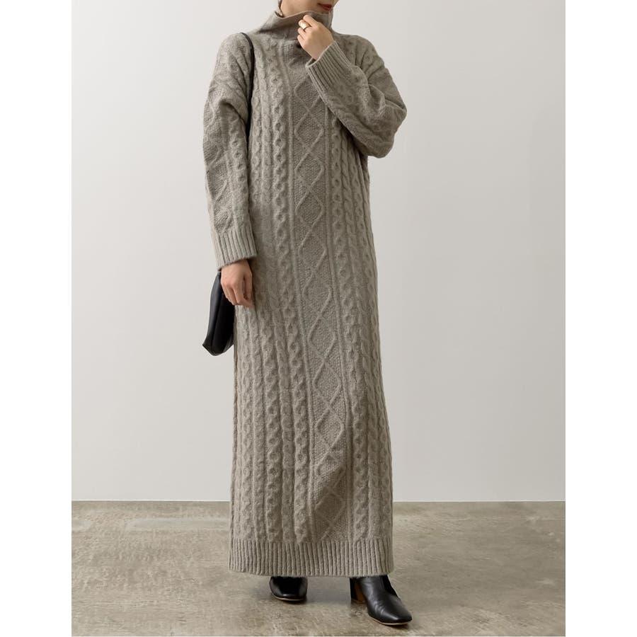スタイリングの主役になるモードな装いの一着 ケーブル編みボトルネックブークレニットマキシワンピース ワンピース/ワンピース 6