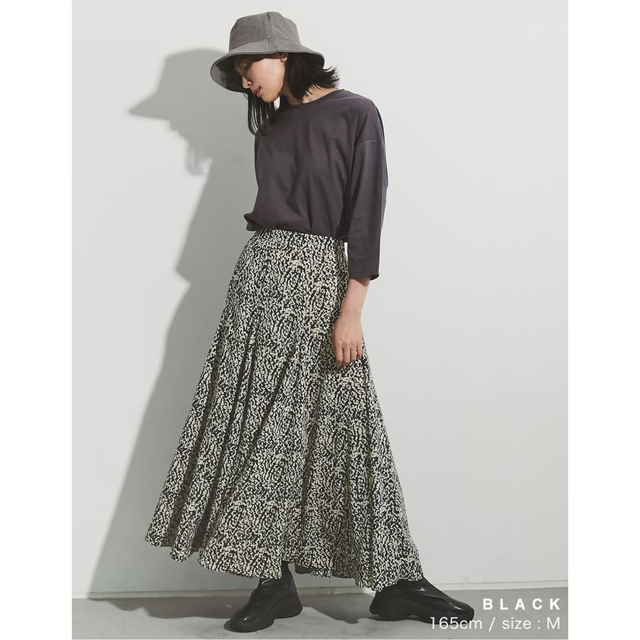 歩くのが楽しくなる「揺れ感フレア」 [低身長向けSサイズ対応]総柄マキシ丈スイングフレアスカート スカート/スカート 8