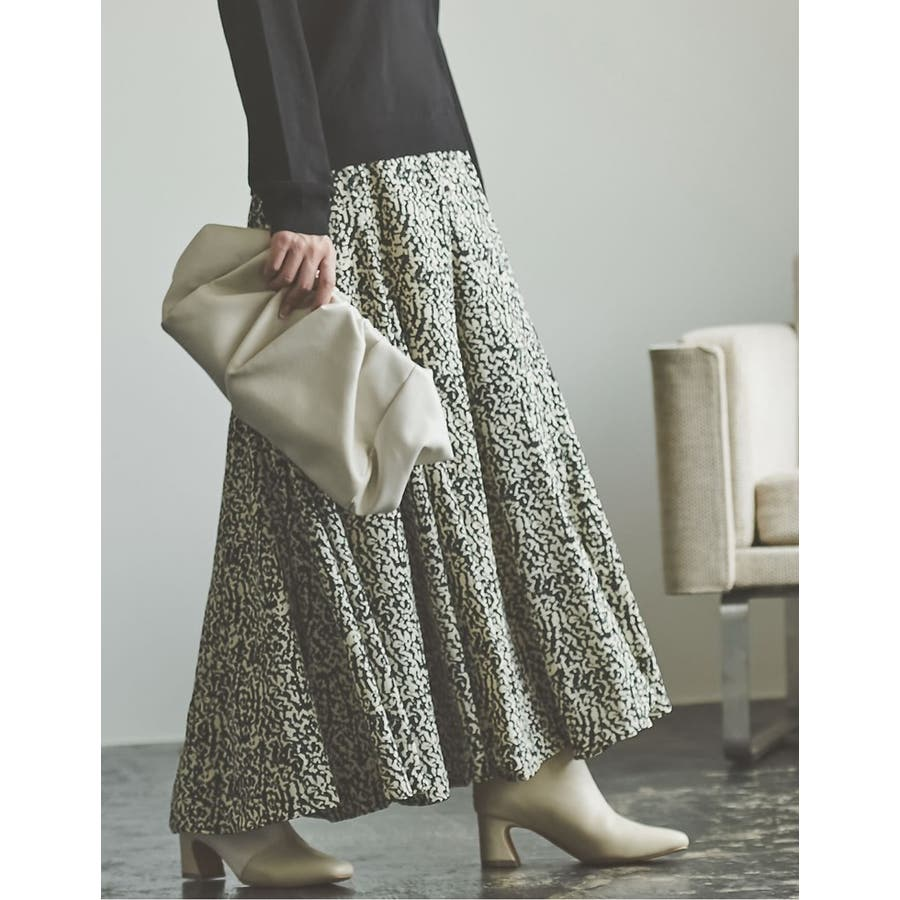 歩くのが楽しくなる「揺れ感フレア」 [低身長向けSサイズ対応]総柄マキシ丈スイングフレアスカート スカート/スカート 6