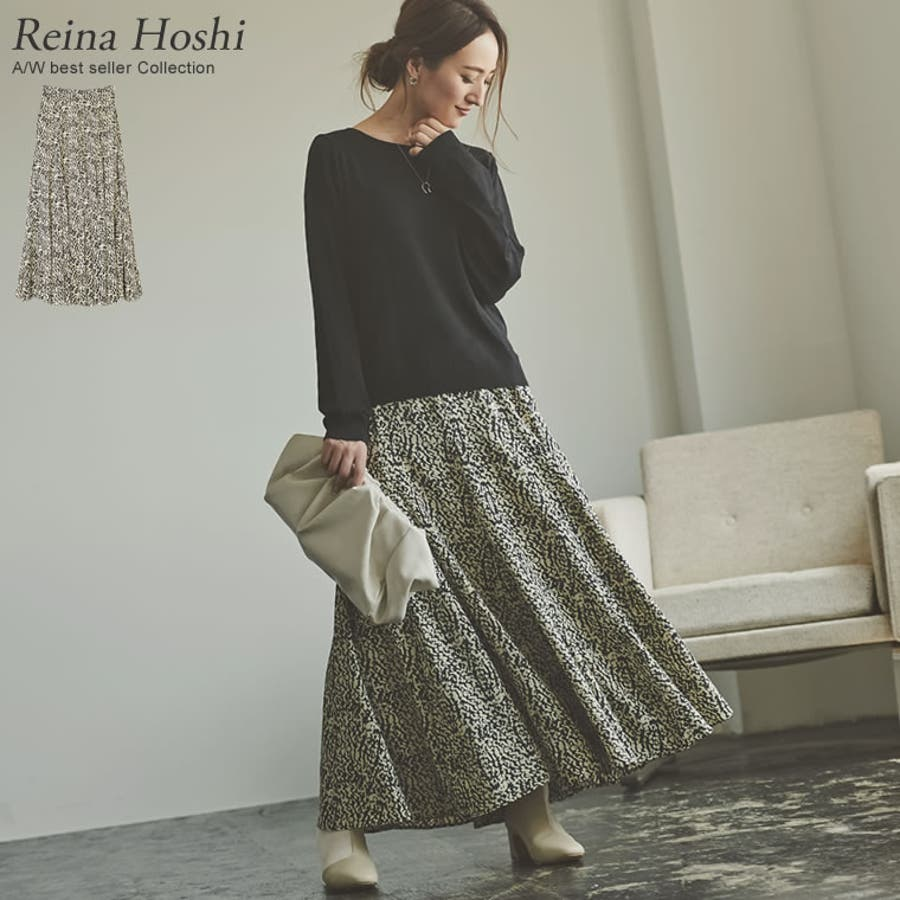 歩くのが楽しくなる「揺れ感フレア」 [低身長向けSサイズ対応]総柄マキシ丈スイングフレアスカート スカート/スカート 1
