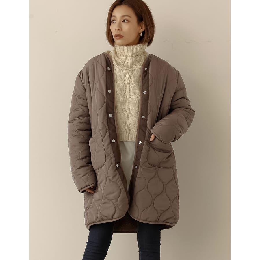 一枚なのに二着分。軽い羽織り心地で驚きの暖かさ キルティング×ボアリバーシブルミドルコート ジャケット/アウター/ノーカラージャケット 35