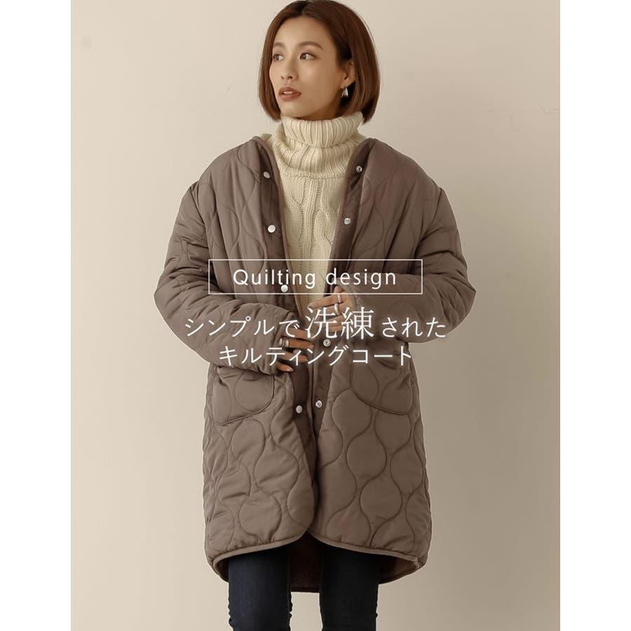 一枚なのに二着分。軽い羽織り心地で驚きの暖かさ キルティング×ボアリバーシブルミドルコート ジャケット/アウター/ノーカラージャケット 6
