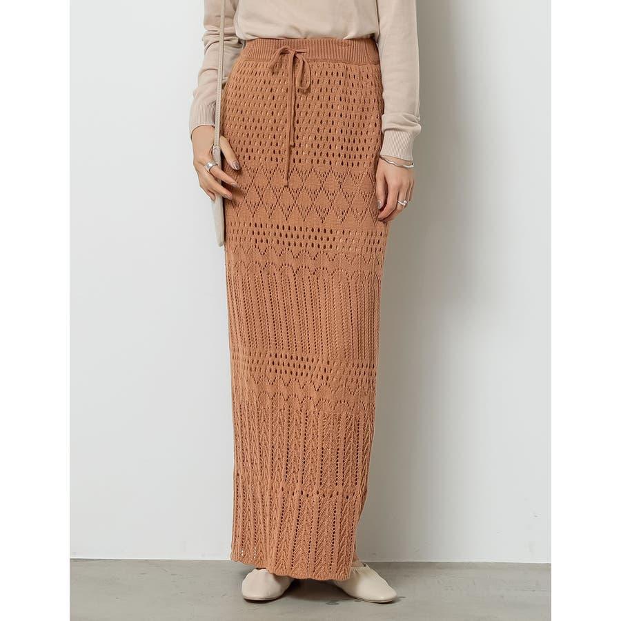 表情豊かな「透かし編み」で大人の贅沢を [低身長向けSサイズ対応]かぎ編みニットスカート スカート/スカート 4