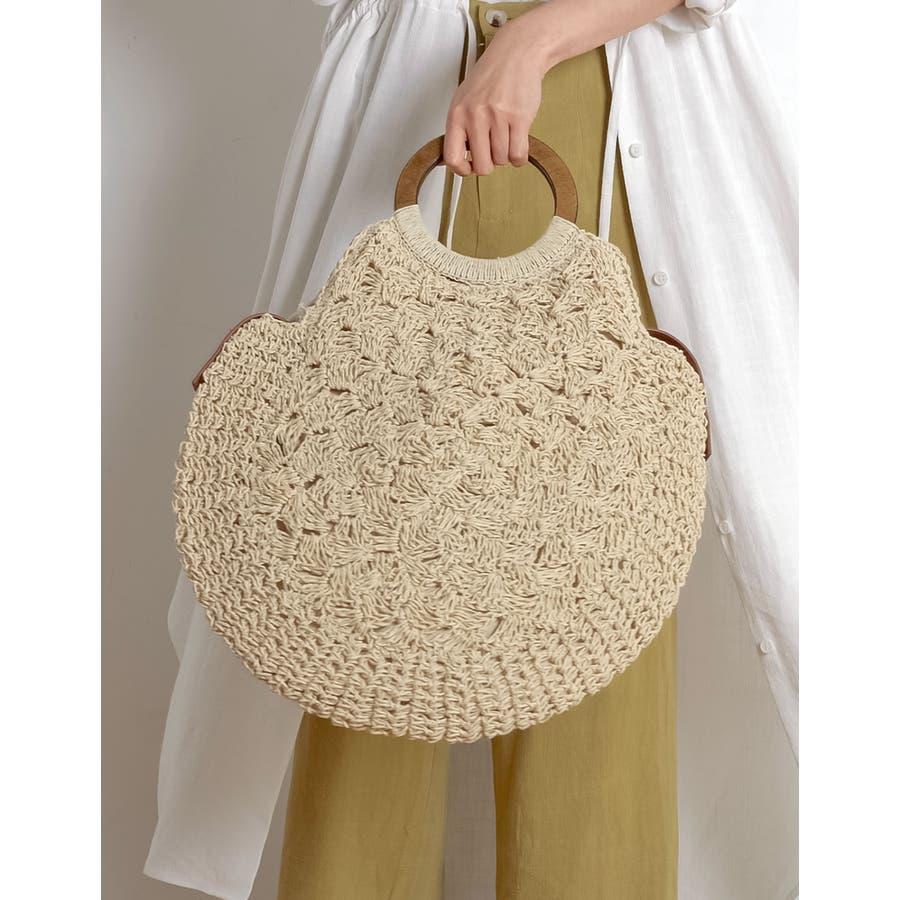お買い物にお散歩に。ナチュラルなシーズンバッグが登場 [近藤千尋さん着用]天然素材サークルハンドバッグ バッグ/ハンドバッグ 41
