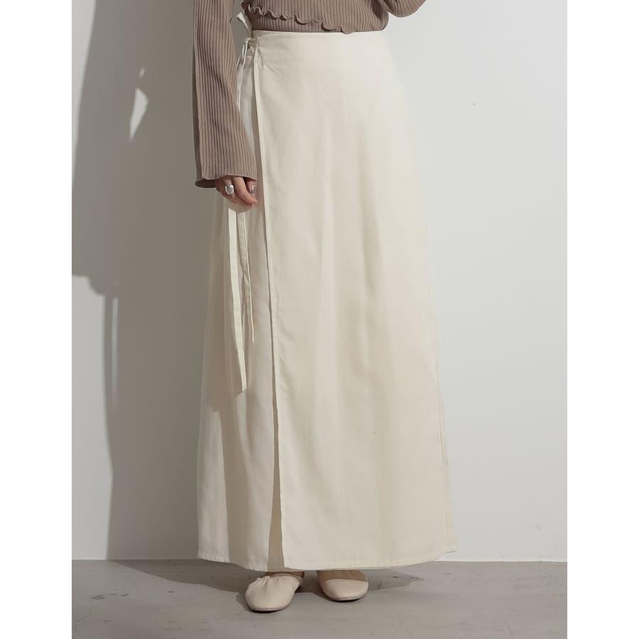 優雅でナチュラルな大人のカジュアルスカート ウエストリボンラップナロースカート 18