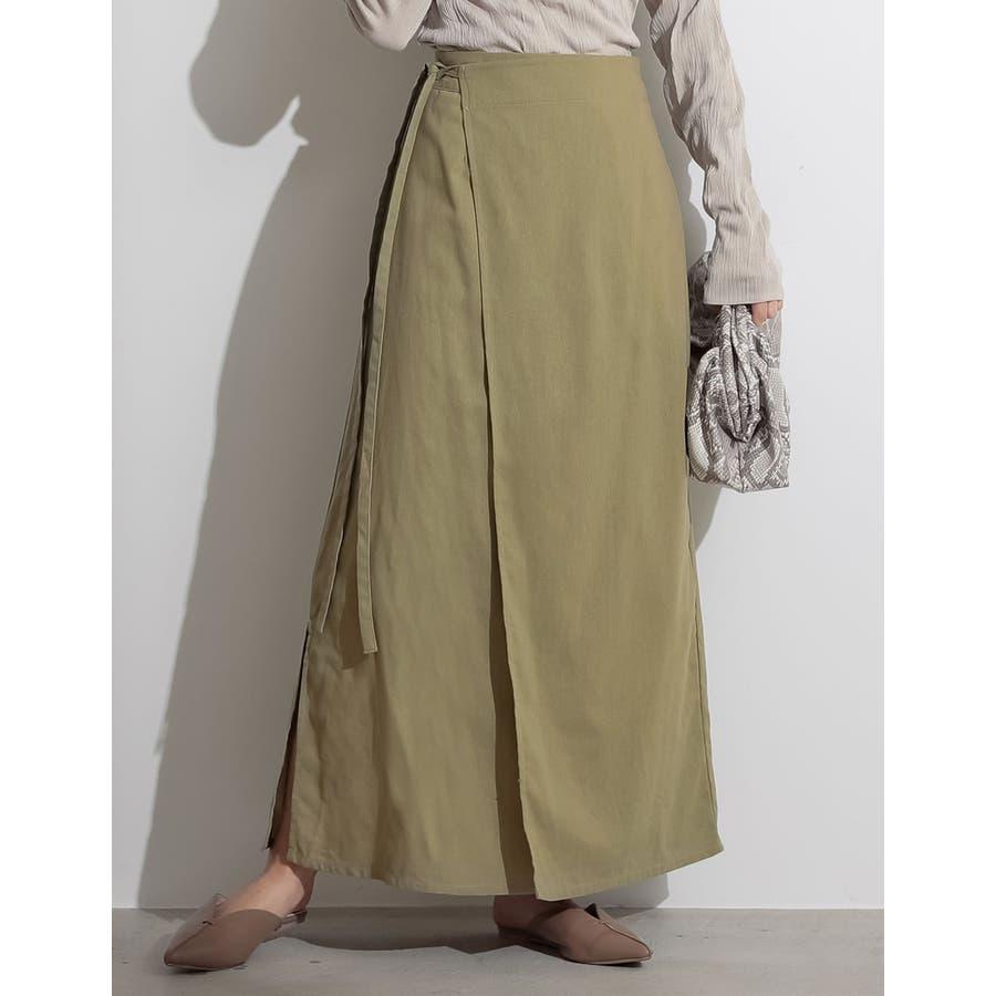 優雅でナチュラルな大人のカジュアルスカート ウエストリボンラップナロースカート 53