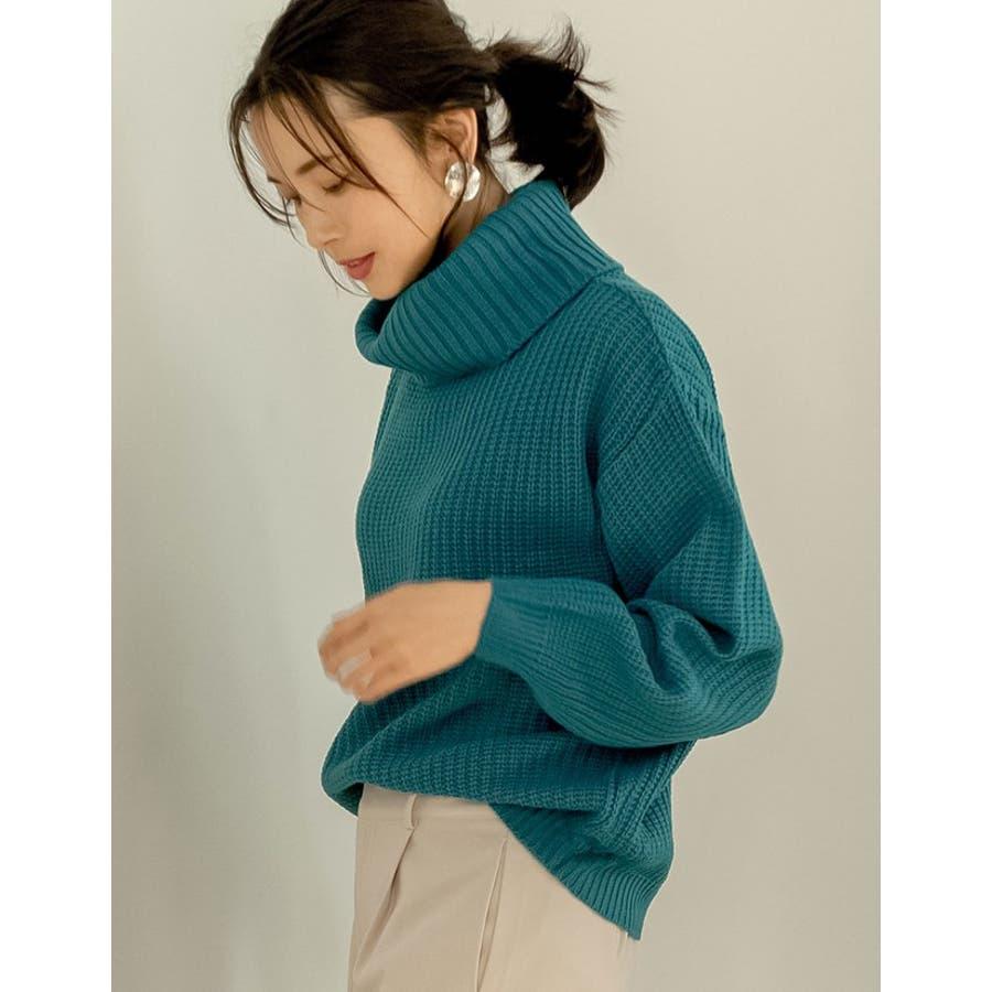 冬コーデに彩りを。カラーが自慢の洗えるニット 選べるVネックorタートルネック畦編みリラックスニット ニットトップス 7