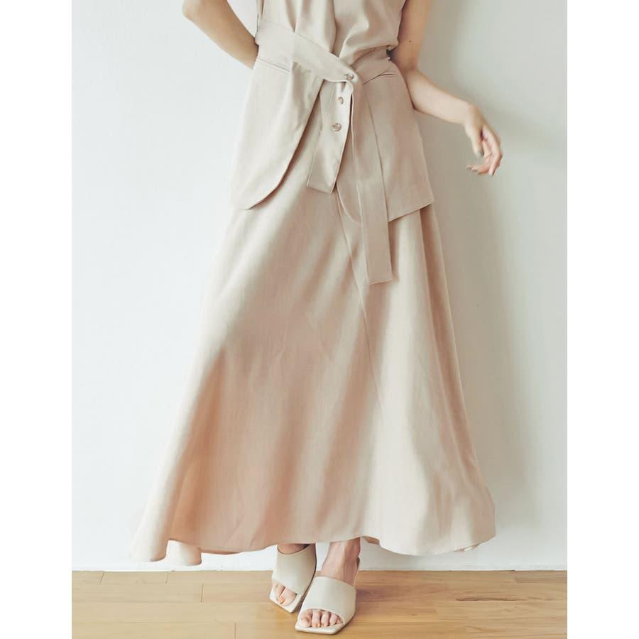 涼感ひんやり生地のふんわり上品フレアスカートリネンライクスパイラルナロースカート… 42