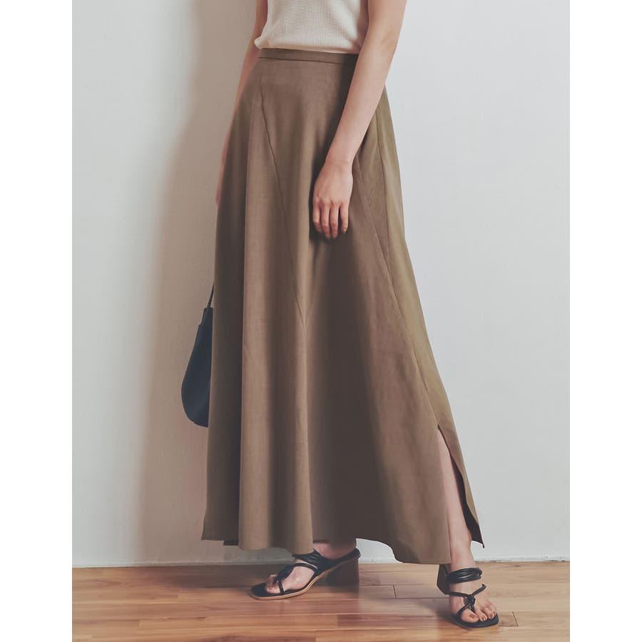 涼感ひんやり生地のふんわり上品フレアスカートリネンライクスパイラルナロースカート… 29