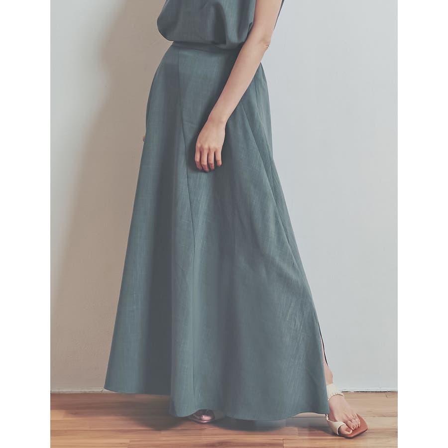 涼感ひんやり生地のふんわり上品フレアスカートリネンライクスパイラルナロースカート… 47