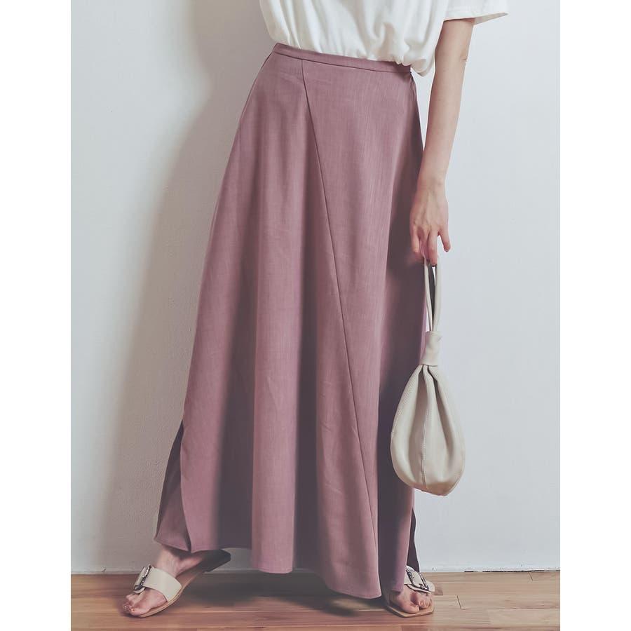 涼感ひんやり生地のふんわり上品フレアスカートリネンライクスパイラルナロースカート… 80