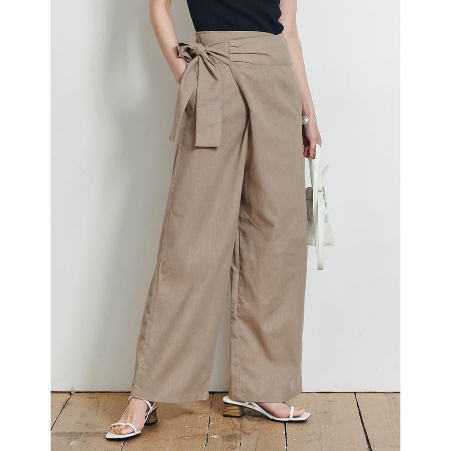 春夏の着こなしに映えるリネンライクな旬ボトム リネンライクラップパンツ パンツ 35