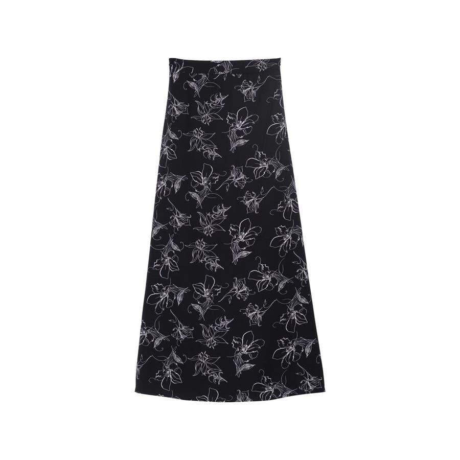 上品で清涼感のある夏の花柄スカート ペインティング花柄ロングスカート スカート 21