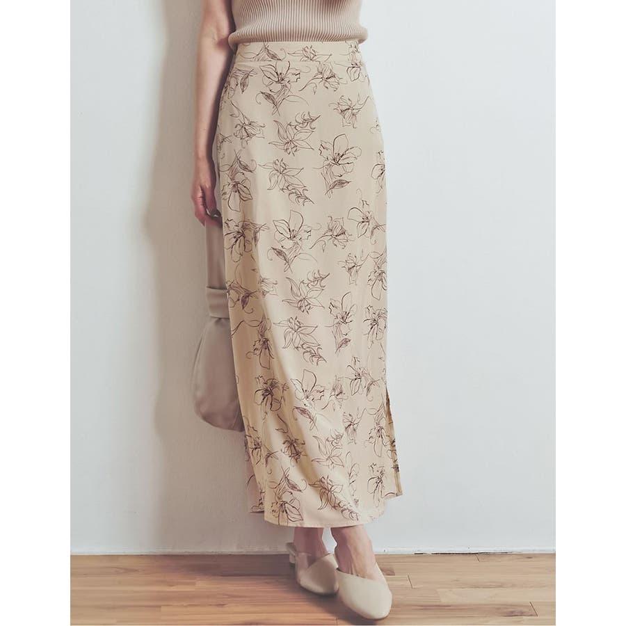 上品で清涼感のある夏の花柄スカート ペインティング花柄ロングスカート スカート 6