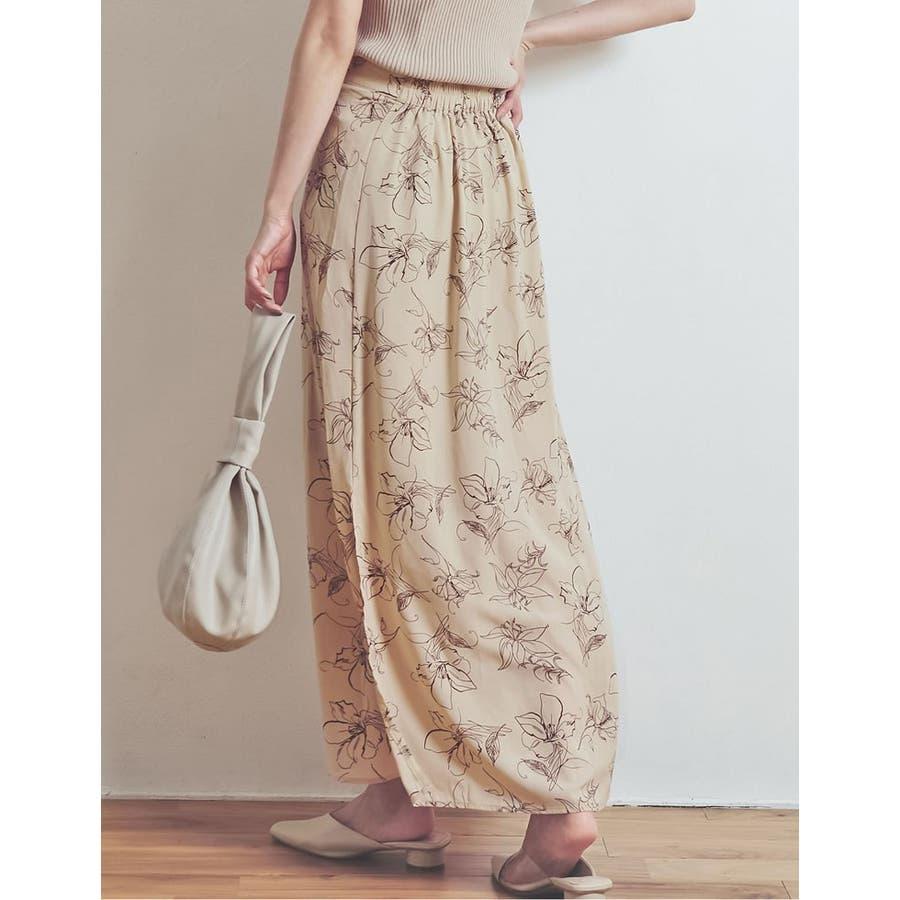 上品で清涼感のある夏の花柄スカート ペインティング花柄ロングスカート スカート 7