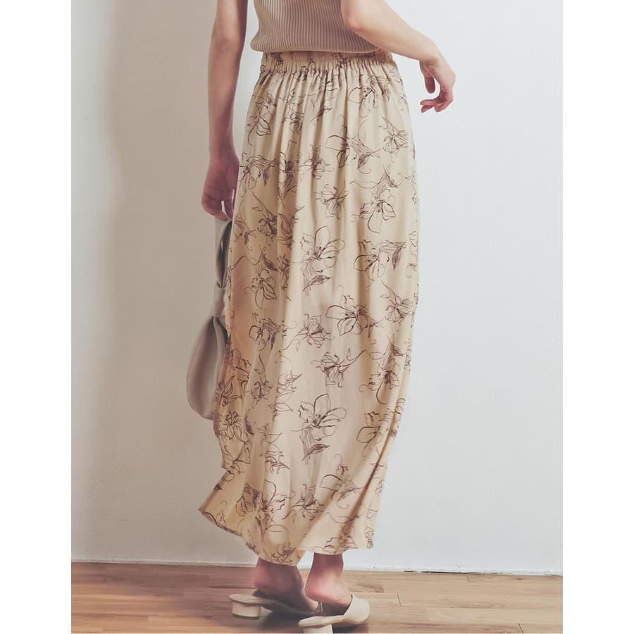 上品で清涼感のある夏の花柄スカート ペインティング花柄ロングスカート スカート 8