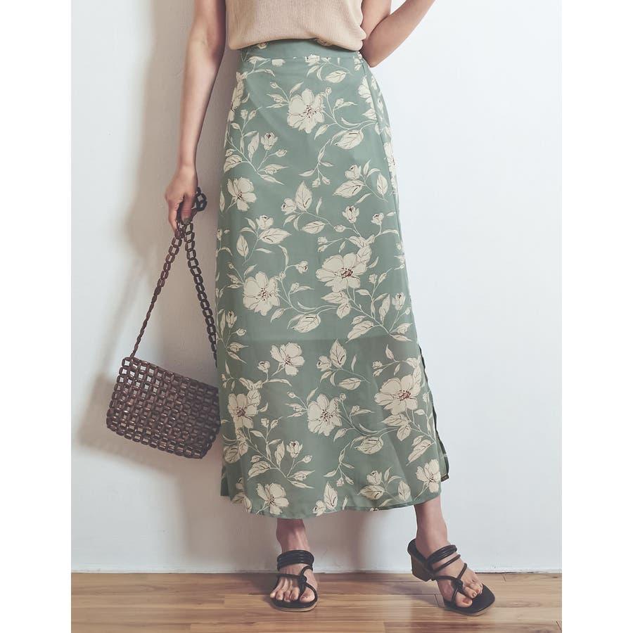 モダンな花柄でニュアンスたっぷりに仕上げた花柄スカート 47