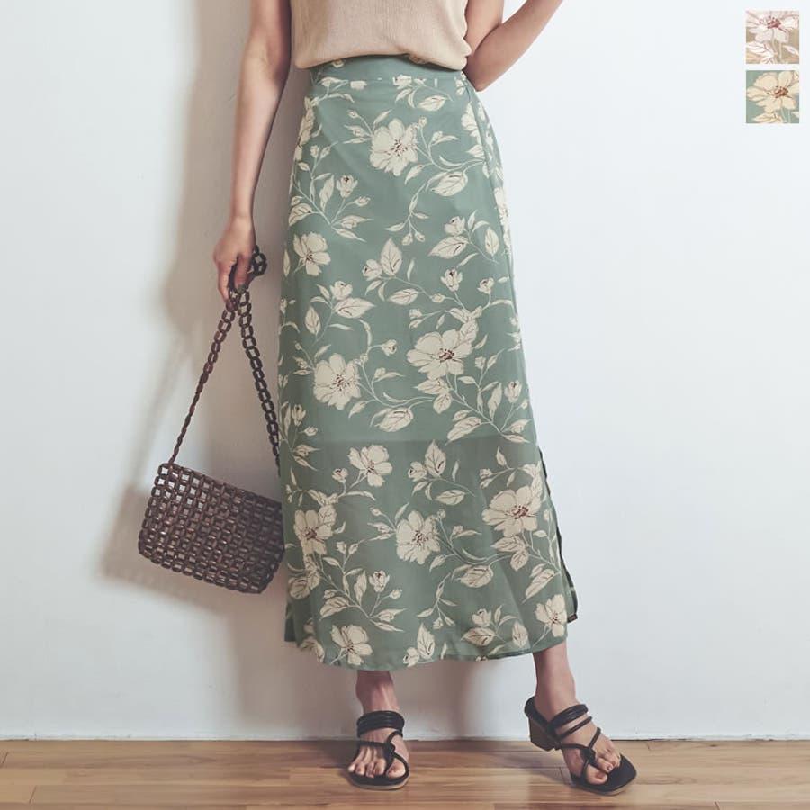 モダンな花柄でニュアンスたっぷりに仕上げた花柄スカート 1