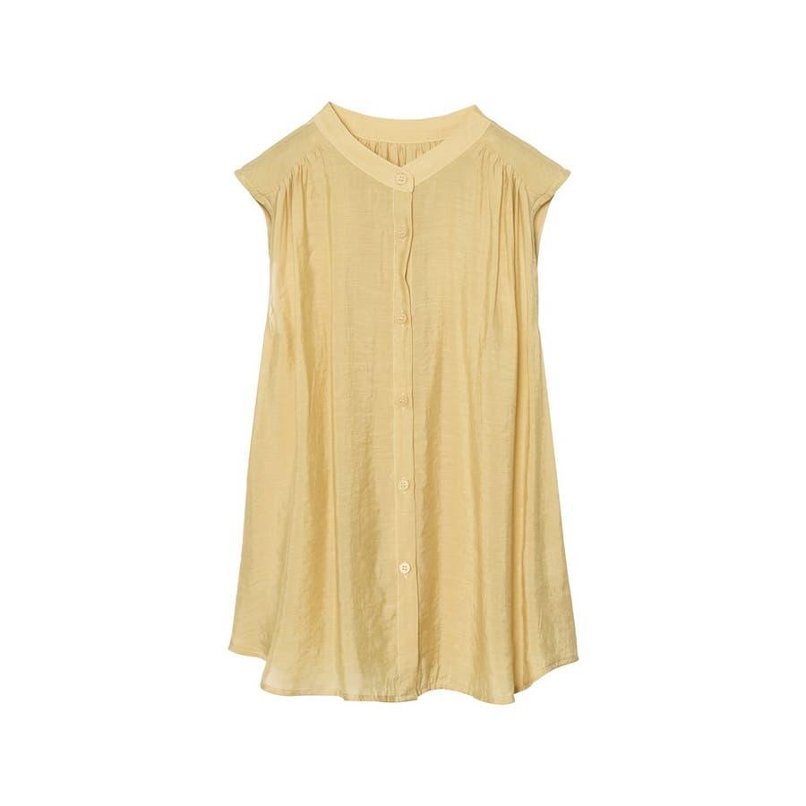 旬のシアーシャツが夏仕様で登場! ノースリシアーシャツブラウス トップス 83