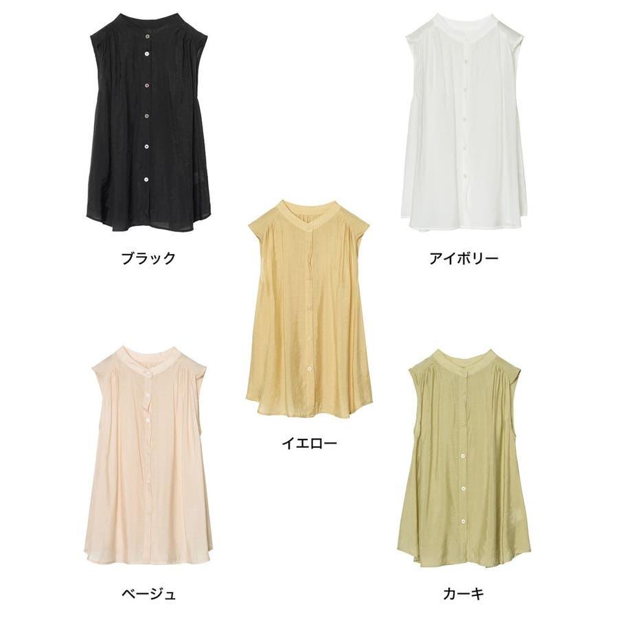 旬のシアーシャツが夏仕様で登場! ノースリシアーシャツブラウス トップス 2