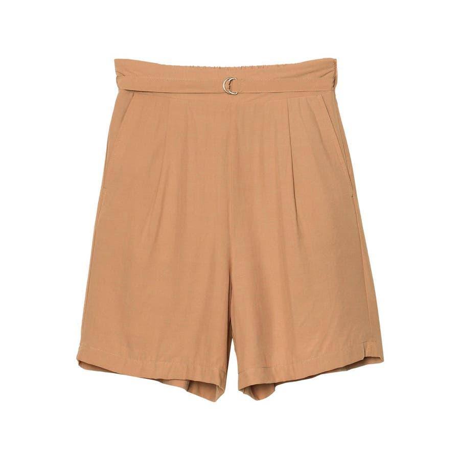 てろんとした夏素材のショートパンツ ベルト付きサテンファイユショートパンツ パンツ 87