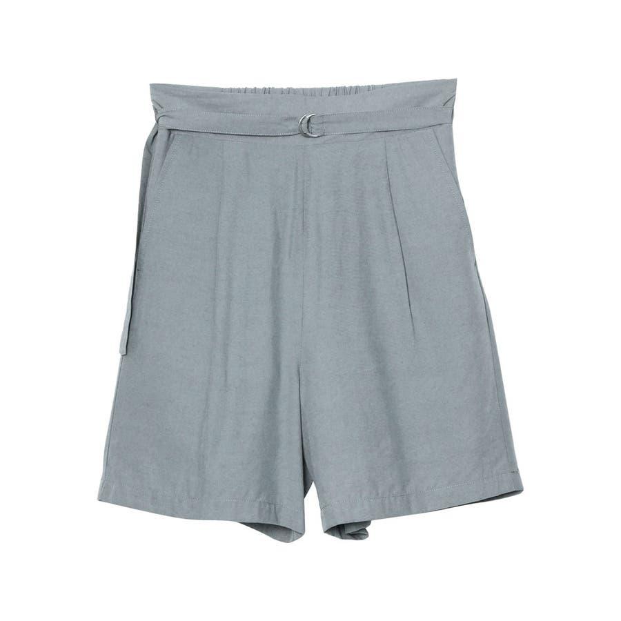 てろんとした夏素材のショートパンツ ベルト付きサテンファイユショートパンツ パンツ 59