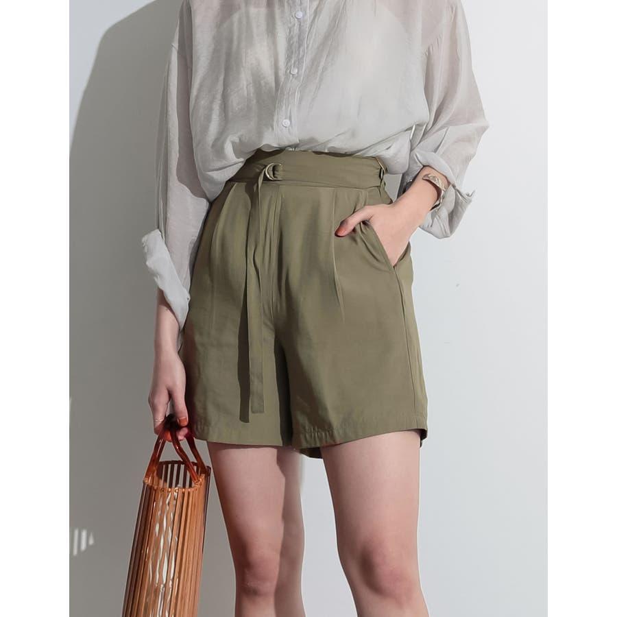 てろんとした夏素材のショートパンツ ベルト付きサテンファイユショートパンツ パンツ 53