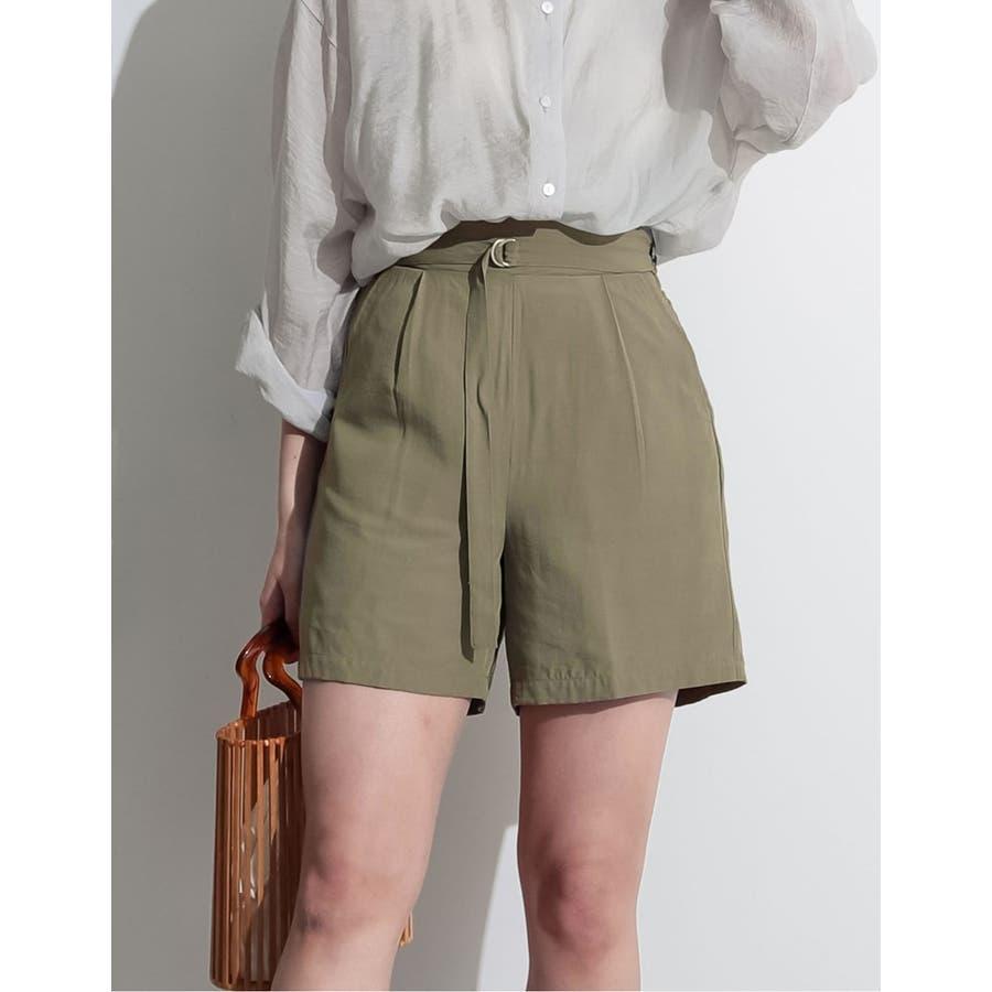 てろんとした夏素材のショートパンツ ベルト付きサテンファイユショートパンツ パンツ 5