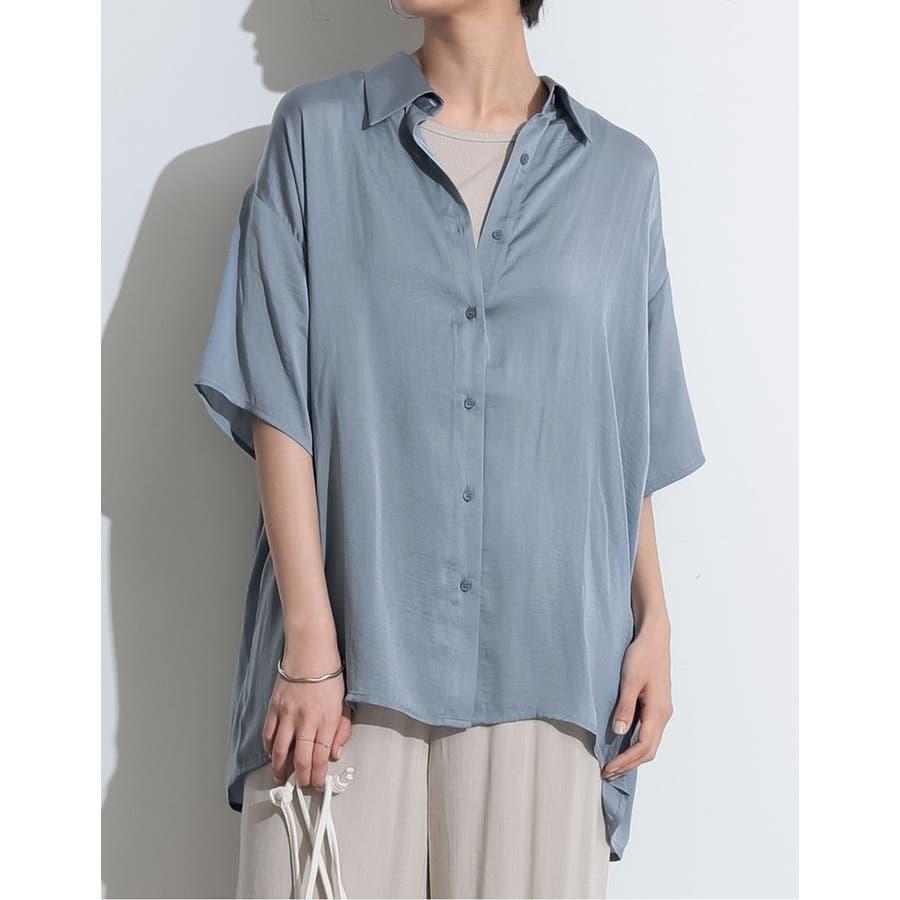 流れるような光沢がトレンドライクなサテンシャツ 5