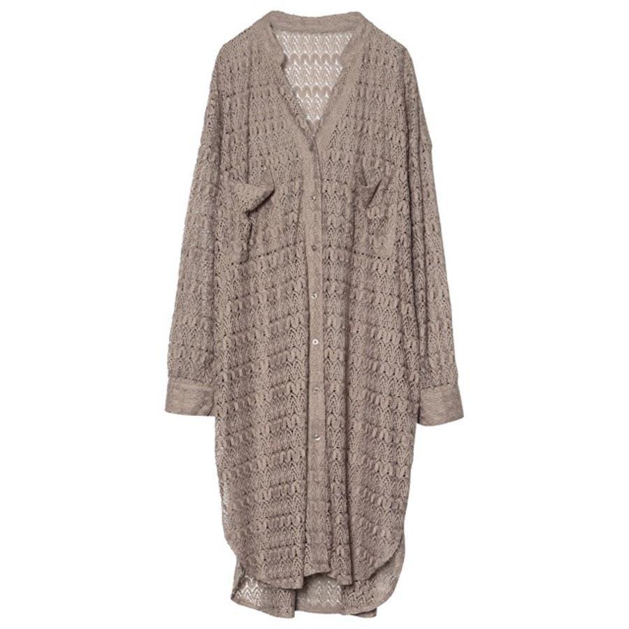 繊細な透かし編みが美しいレースカーディガン [お家で洗える]ジオメトリーレースシャツカーディガン トップス/シャツ/ブラウス 35