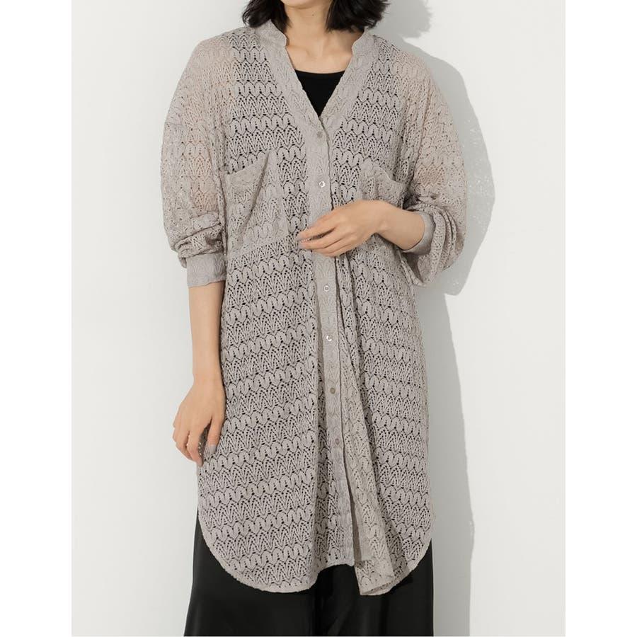 繊細な透かし編みが美しいレースカーディガン [お家で洗える]ジオメトリーレースシャツカーディガン トップス/シャツ/ブラウス 6