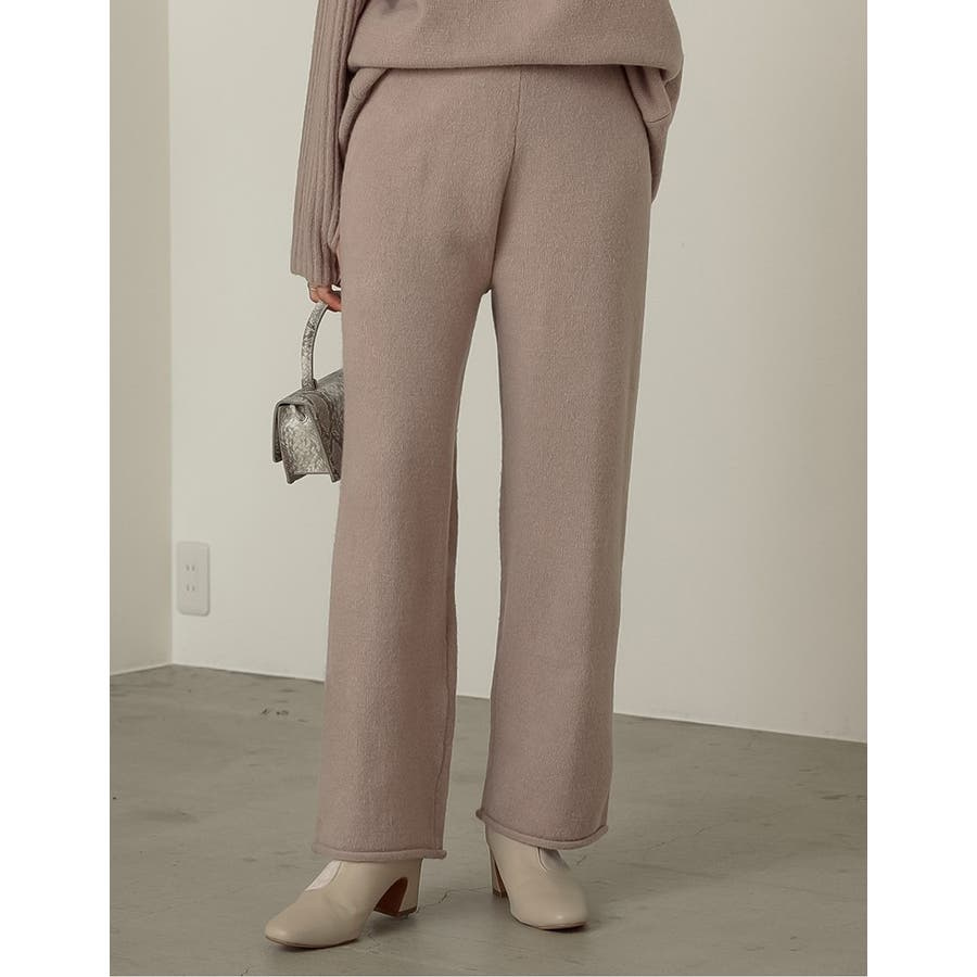あったか美シルエットのウォッシャブルニットパンツ ブークレニットパンツ パンツ 35