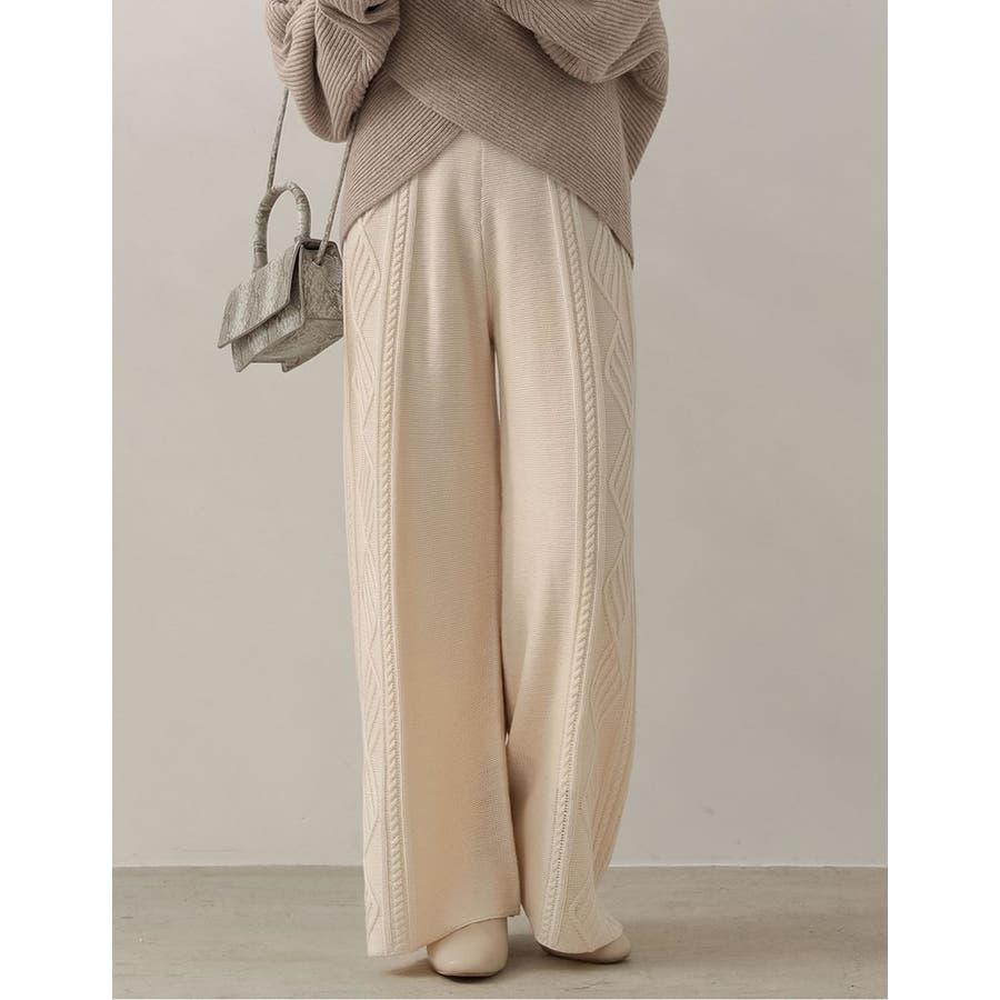 リラックス感と美脚見せの両方を叶えるニットパンツサイドケーブル編みストレートニッ… 5