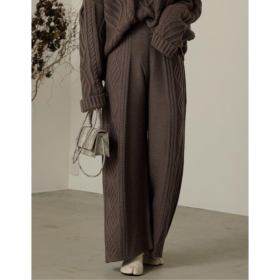 リラックス感と美脚見せの両方を叶えるニットパンツサイドケーブル編みストレートニッ… 6