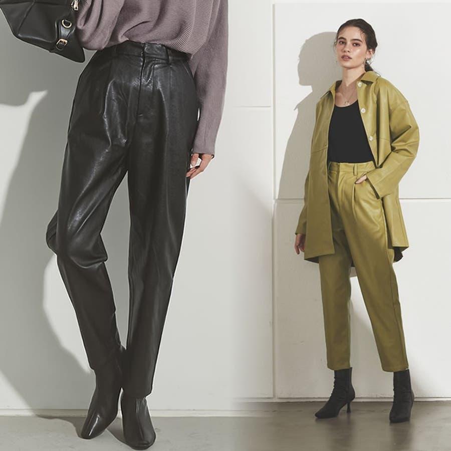軽やかな履き心地と上品さを兼ね備えたフェイクレザーペグトップパンツ [2020A/WCOLECTION][お家で洗える]フェイクレザーペグトップパンツ パンツ/パンツ 1