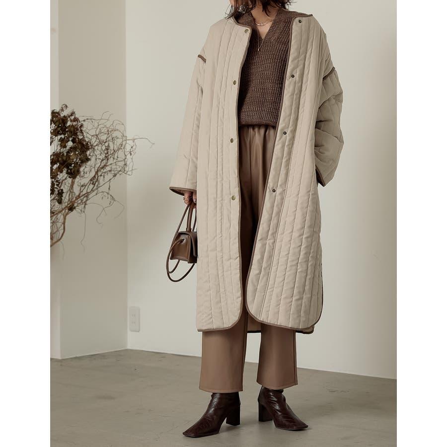 軽量で暖かくさらっと羽織れるノーカラーキルティングコート 18