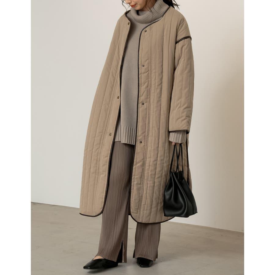 軽量で暖かくさらっと羽織れるノーカラーキルティングコート 41