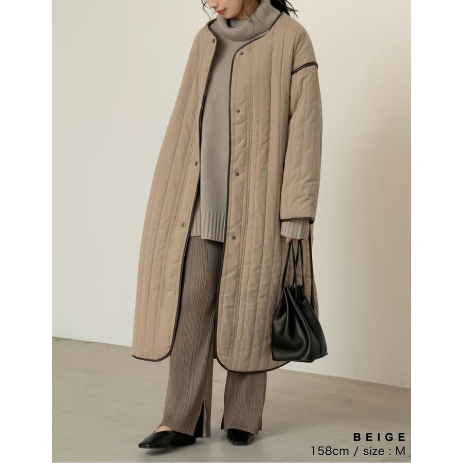 軽量で暖かくさらっと羽織れるノーカラーキルティングコート 5
