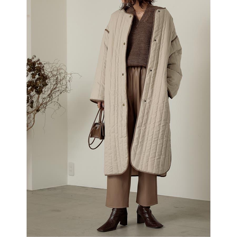 軽量で暖かくさらっと羽織れるノーカラーキルティングコート 6
